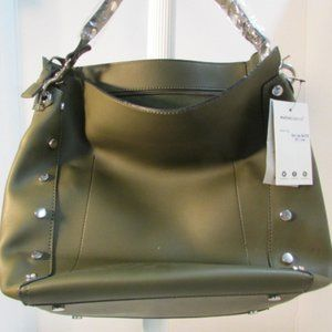 Melie Bianco Olive Green Lux Leather Tote.